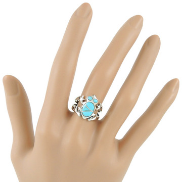 Frog Ring Sterling Silver Turquoise R2275-C05