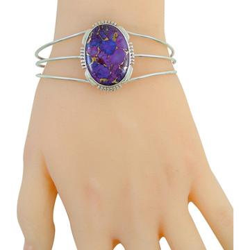 Purple Turquoise Bracelet Sterling Silver B5531-C77