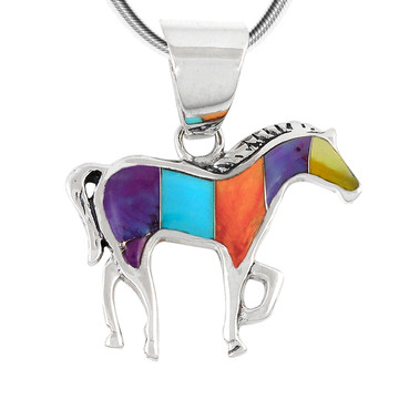 Sterling Silver Horse Pendant Turquoise P3109-C01