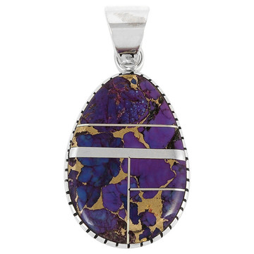 Sterling Silver Pendant Purple Turquoise P3131-C07