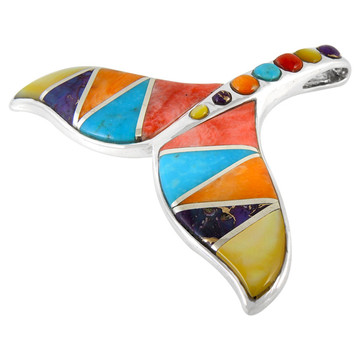 Sterling Silver Whale Tail Pendant Multi Gemstone P3157-C01