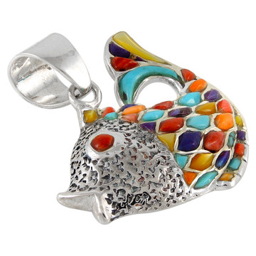 Sterling Silver Fish Pendant Multi Gemstone P3161-C01