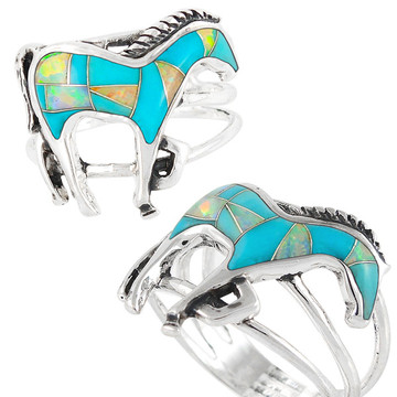 Horse Ring Sterling Silver Turquoise R2018-C21