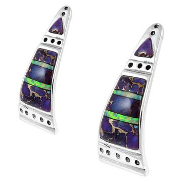 Sterling Silver Earrings Purple Turquoise E1222-C23