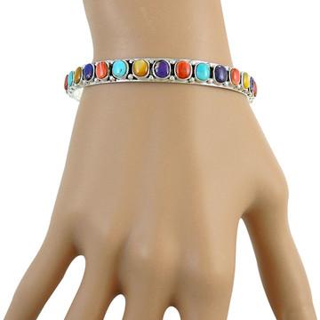 Gemstone Stackable Bangle Bracelet Sterling Silver B5551