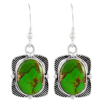 Sterling Silver Earrings Green Turquoise E1235-C76