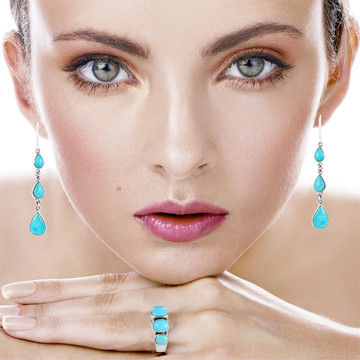 Sterling Silver Chandelier Earrings Turquoise E1241-C75