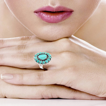 Turquoise Ring Sterling Silver R2407-C75