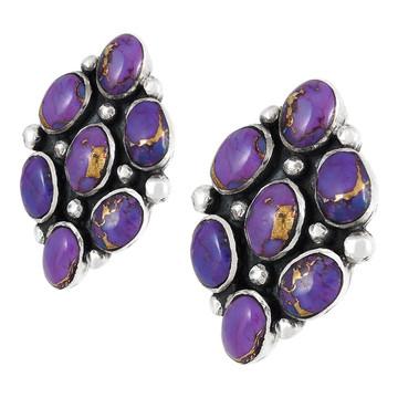 Sterling Silver Earrings Purple Turquoise E1242-C77