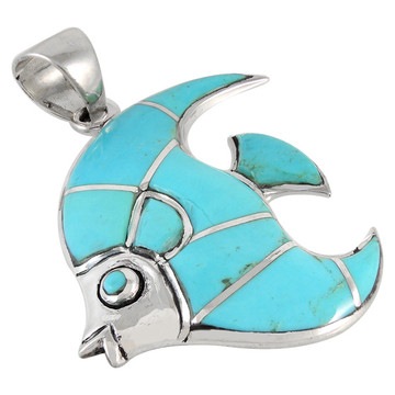 Sterling Silver Fish Pendant Turquoise P3210-C05
