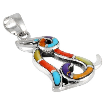 Sterling Silver Puppy Dog Pendant Multi Gemstones P3242-C01