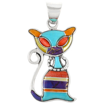 Sterling Silver Kitty Cat Pendant Multi Gemstones P3250-C01