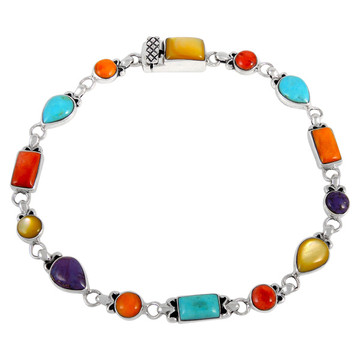 Multi Gemstone Link Bracelet Sterling Silver B5553-C71