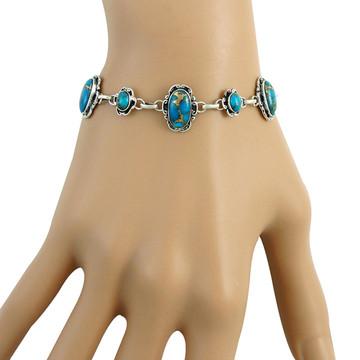 Matrix Turquoise Link Bracelet Sterling Silver B5560-C84