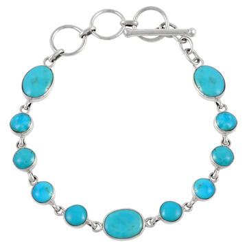 Turquoise Link Bracelet Sterling Silver B5558-C75