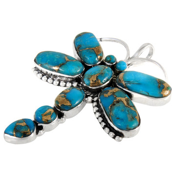 Sterling Silver Dragonfly Pendant Matrix Turquoise P3083-C84