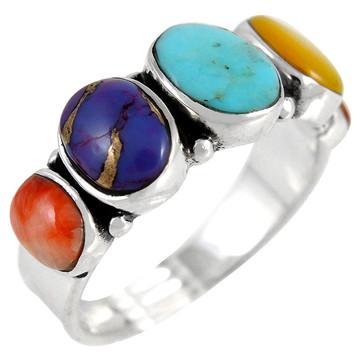 Multi Gemstone Ring Sterling Silver R2421-C71