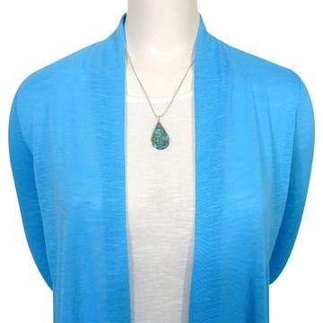 Sterling Silver Pendant & Earrings Set Matrix Turquoise PE4054-C84