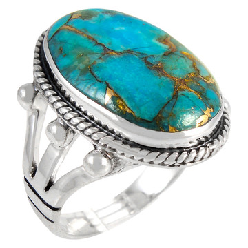 Matrix Turquoise Ring Sterling Silver R2381-C84