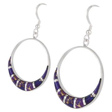 Sterling Silver Earrings Purple Turquoise E1260-C07