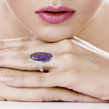 Purple Turquoise Ring Sterling Silver R2429-C77