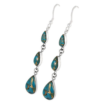 Sterling Silver Chandelier Earrings Matrix Turquoise E1241-C84