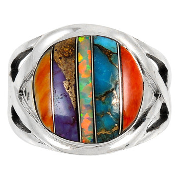Multi Gemstone Ring Sterling Silver R2431-C00