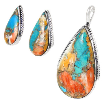 Sterling Silver Pendant & Earrings Set Spiny Turquoise PE4054-C89