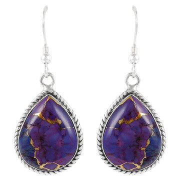 Sterling Silver Earrings Purple Turquoise E1269-C77