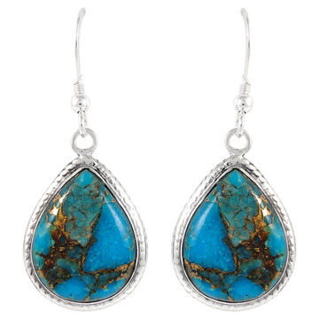 Sterling Silver Earrings Matrix Turquoise E1269-C84