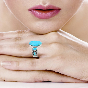 Turquoise Ring Sterling Silver R2434-C75