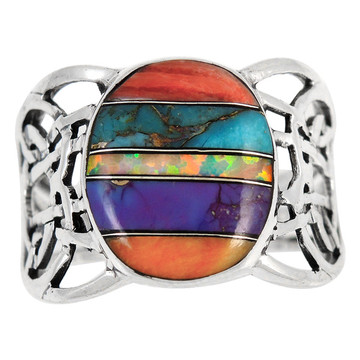 Multi Gemstone Ring Sterling Silver R2437-C00