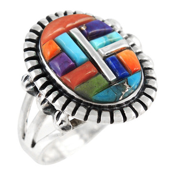 Multi Gemstone Ring Sterling Silver R2438-C51
