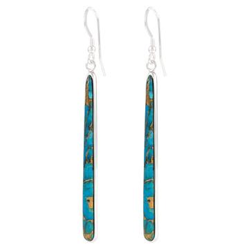 Sterling Silver Drop Earrings Matrix Turquoise E1250W-C84