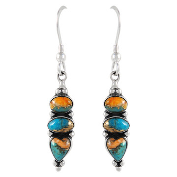 Sterling Silver Earrings Spiny Turquoise E1278-C89