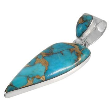 Sterling Silver Pendant Matrix Turquoise P3225-C84