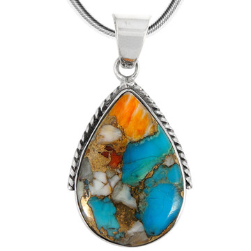 Sterling Silver Pendant Spiny Turquoise P3075-BAIL-C89