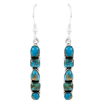 Sterling Silver Earrings Matrix Turquoise E1243-C84