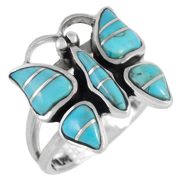 Butterfly Ring Sterling Silver Turquoise R2037-C05
