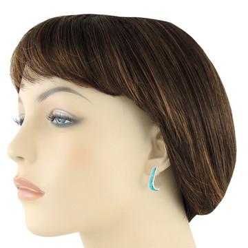 Sterling Silver J-Hoop Earrings Turquoise E1153-C05