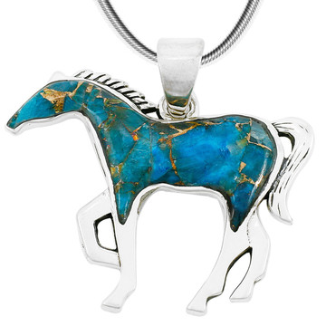 Horse Jewelry Pendant Matrix Turquoise Sterling Silver P3049-SM-C84