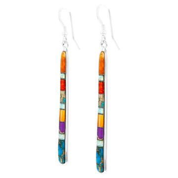 Multi Gemstone Drop Earrings Sterling Silver E1250W-C00B