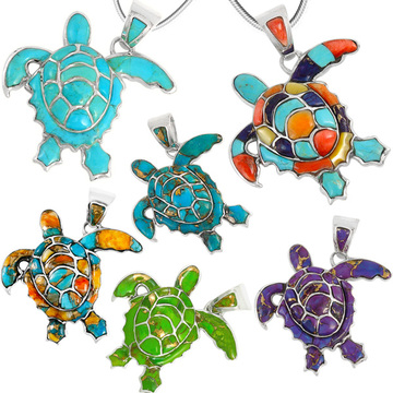 Turtle Pendant Turquoise Sterling Silver P3180