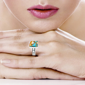 Spiny Turquoise Ring Sterling Silver R2425-C89