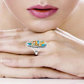 Spiny Turquoise Ring Sterling Silver R2318-C59
