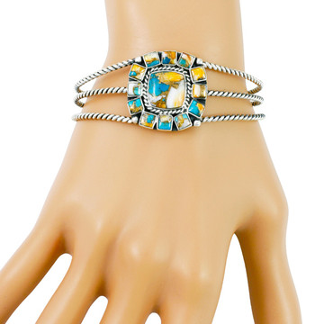 Spiny Turquoise Bracelet Sterling Silver B5573-C89