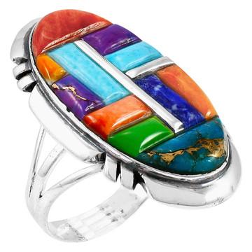 Multi-Gemstone Ring Sterling Silver R2429-C51