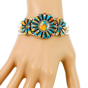 Spiny Turquoise Bracelet Sterling Silver B5523-C89