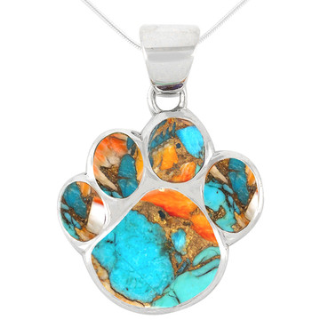 Sterling Silver Paw Pendant Spiny Turquoise P3178-C89