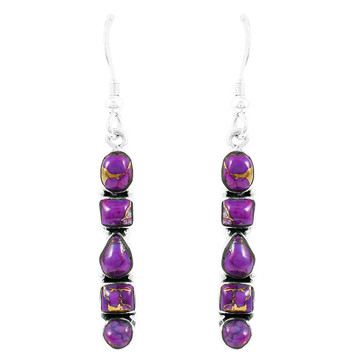 Purple Turquoise Earrings Sterling Silver E1243-C77